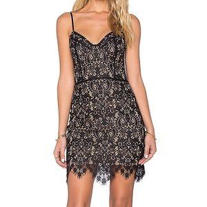 For Love & Lemons Vika Mini Dress Black Lace Nude